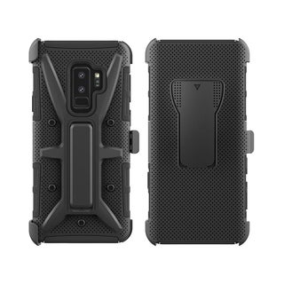 Insten Black Ultimate Rugged 3 in 1 Dual Layer Hybrid Hard Snap-in Holster Case Cover for Samsung Galaxy S9 Plus
