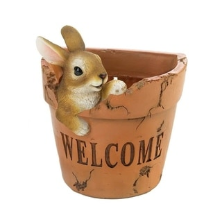 Summerfield Terrace Polyresin Welcoming Outdoor Decorative Bunny Planter