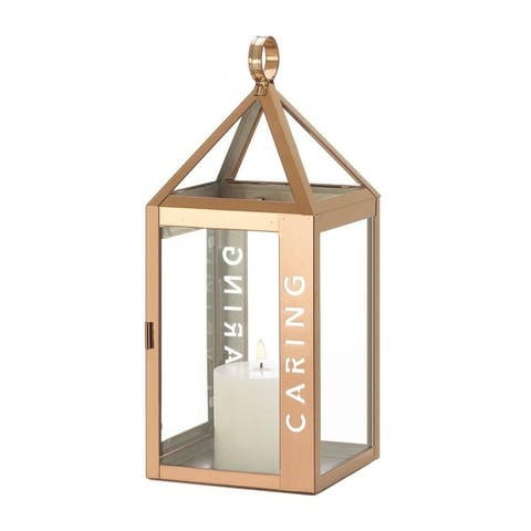 Gallery of Light Large Rose Metal Caring Decorative Lantern - Glass, Stainless Steel