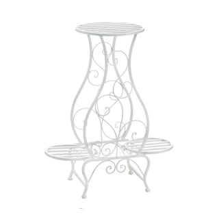 Summerfield Terrace Indoor and Outdoor Iron Hourglass Triple Decorative Plant Stand - White