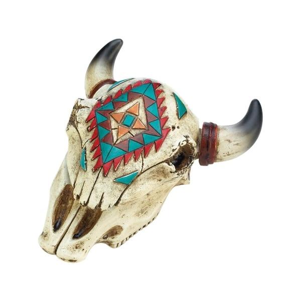 Accent Plus Aztec Ox Skull Polyresin Decorative Trinket Box - Multicolor