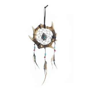 Accent Plus Rustic Antler Dreamcatcher Decoration with Dangling Feathers