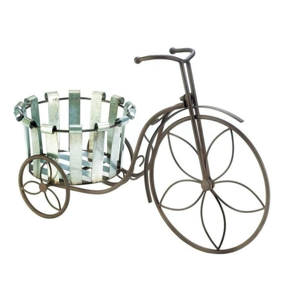Summerfield Terrace Galvanized Bucket Bike Plant Stand with Floral Petal Wheels