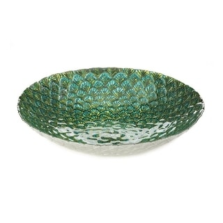 Accent Plus Peacock Feather Kitchen Decorative Inspired Plate - Glass, Iron