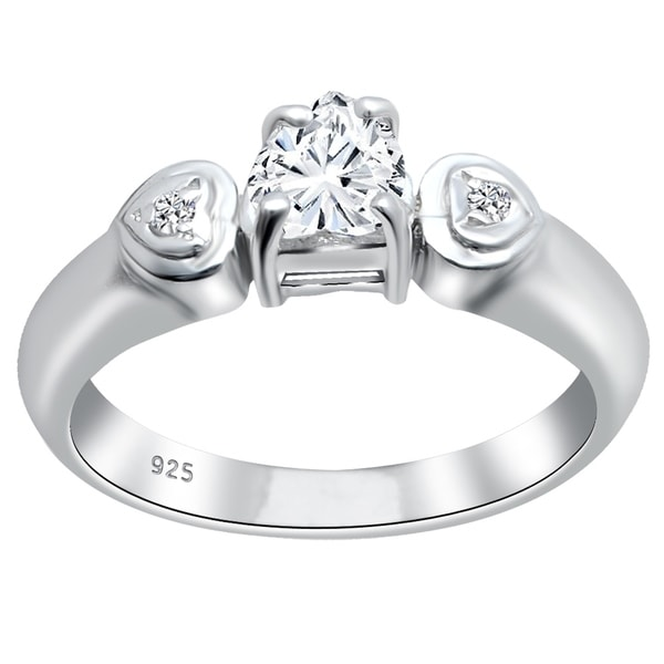 925 Solid Sterling Silver Women/'s Heart CZ Halo Wedding Engagement Promise Ring