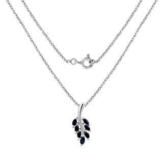 2.10 Carat Sapphire Leaf Shape Sterling Silver Pendant By Orchid Jewelry
