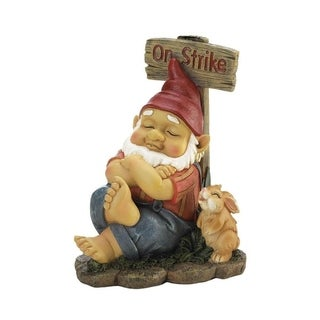 Summerfield Terrace Polyresin Garden Decorative Gnome On Strike Sculpture