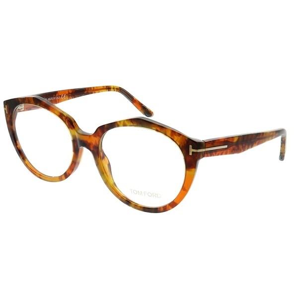 b6471bb6be Shop Tom Ford Round FT 5416 55 Women Light Tortoise Frame Eyeglasses ...