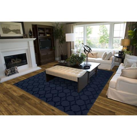 Sparta Navy Living Room Area Rug