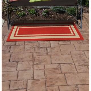 Borderline Burgundy/Tan  Indoor/Outdoor Area Rug