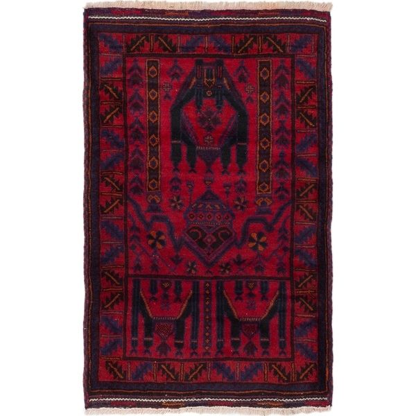 ECARPETGALLERY Hand-knotted Baluch Red Wool Rug - 3'1 x 4'11