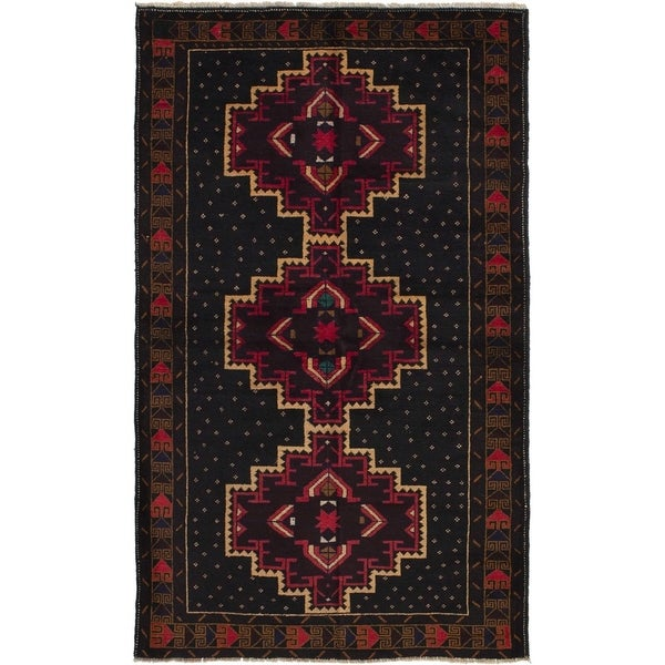 ECARPETGALLERY Hand-knotted Finest Rizbaft Black, Burgundy Wool Rug - 3'7 x 6'3