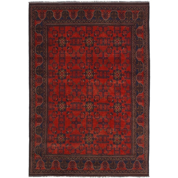 ECARPETGALLERY Hand-knotted Finest Khal Mohammadi Red Wool Rug - 6'6 x 9'5