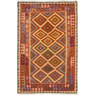 ECARPETGALLERY  Flat-weave Hereke FW Red Wool Kilim - 5'0 x 8'2