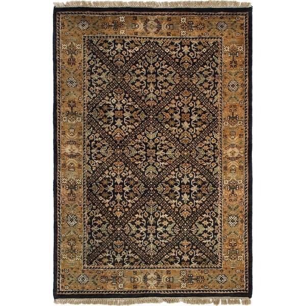 ECARPETGALLERY Hand-knotted Sultanabad Dark Gold, Dark Navy Wool Rug - 4'0 x 5'11