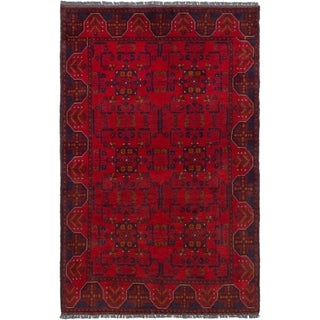 ECARPETGALLERY  Hand-knotted Finest Khal Mohammadi Red Wool Rug - 3'11 x 6'3