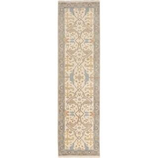 ECARPETGALLERY  Hand-knotted Royal Ushak Cream Wool Rug - 2'8 x 10'0
