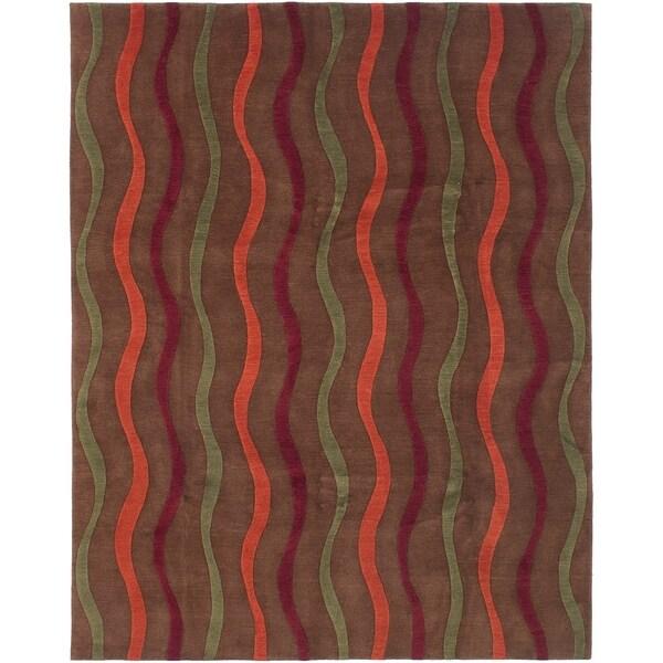 ECARPETGALLERY Hand-knotted Karma Dark Brown Wool Rug - 7'9 x 9'9