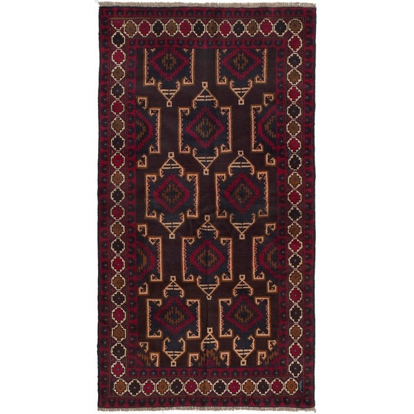 ECARPETGALLERY Hand-knotted Teimani Dark Brown, Red Wool Rug - 3'2 x 6'2