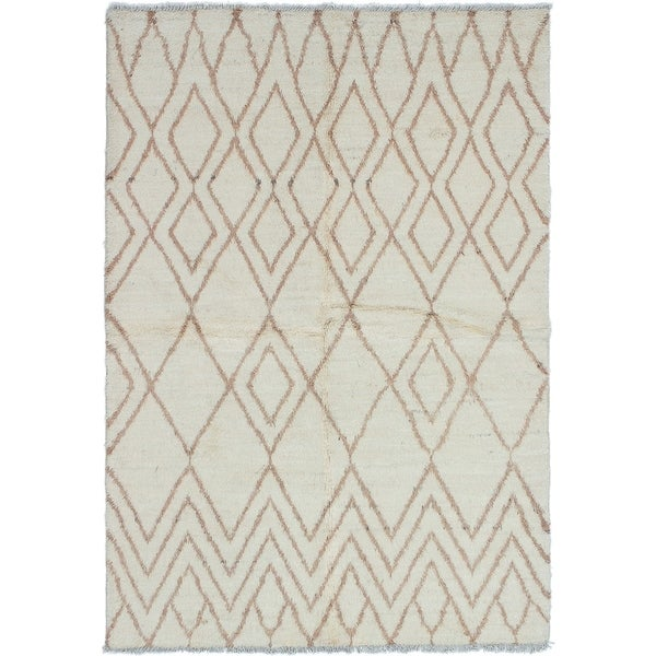 ECARPETGALLERY Hand-knotted Tangier Cream Wool Rug - 6'0 x 8'10