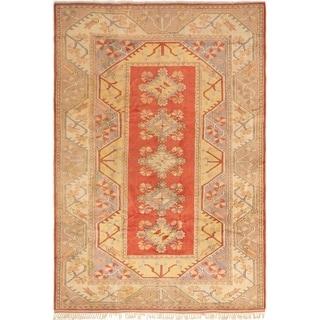 ECARPETGALLERY  Hand-knotted Ushak Dark Copper Wool Rug - 8'5 x 12'2