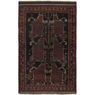 ECARPETGALLERY  Hand-knotted Rizbaft Dark Red Wool Rug - 3'3 x 5'0