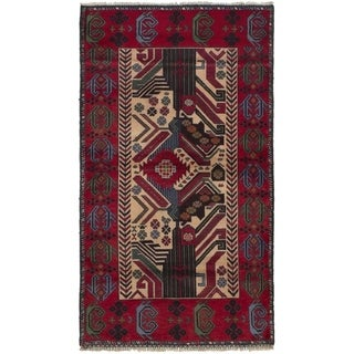 ECARPETGALLERY  Hand-knotted Rizbaft Red Wool Rug - 3'3 x 5'10