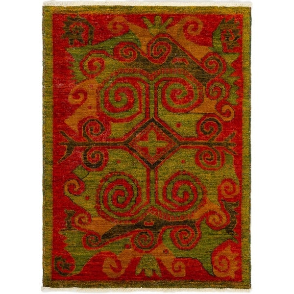 ECARPETGALLERY Hand-knotted Vibrance Red Wool Rug - 4'4 x 5'9