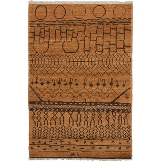ECARPETGALLERY  Hand-knotted Shalimar Copper Wool Rug - 4'0 x 6'0