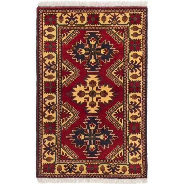 ECARPETGALLERY Hand-knotted Finest Kargahi Dark Red Wool Rug - 2'8 x 4'2