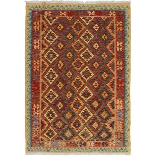 ECARPETGALLERY  Flat-weave Kashkoli FW Dark Navy, Red Wool Kilim - 4'9 x 6'9