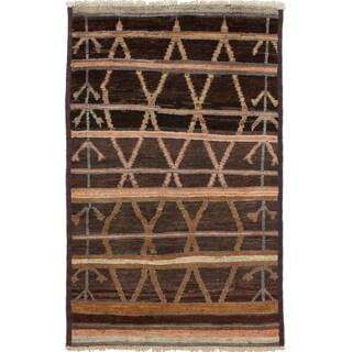 ECARPETGALLERY  Hand-knotted Shalimar Dark Brown Wool Rug - 3'10 x 6'1