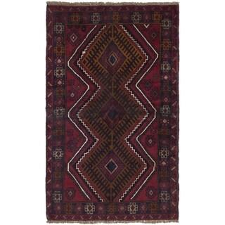 ECARPETGALLERY  Hand-knotted Kazak Dark Red Wool Rug - 3'7 x 5'11