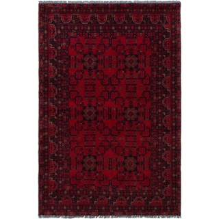 ECARPETGALLERY  Hand-knotted Finest Khal Mohammadi Red Wool Rug - 4'0 x 6'3