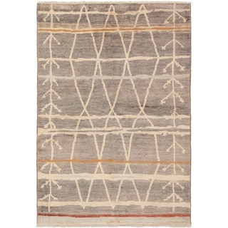 ECARPETGALLERY  Hand-knotted Tangier Grey Wool Rug - 6'0 x 9'0