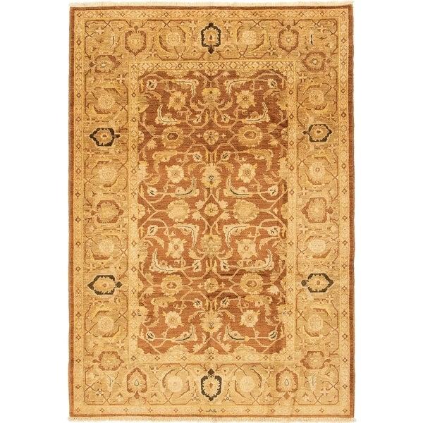 ECARPETGALLERY Hand-knotted Chobi Finest Brown Wool Rug - 6'2 x 8'10