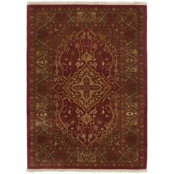 ECARPETGALLERY Hand-knotted Jamshidpour Dark Red Wool Rug - 4'3 x 6'1