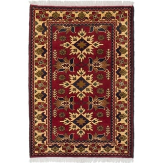 ECARPETGALLERY  Hand-knotted Finest Kargahi Dark Red Wool Rug - 2'10 x 4'0