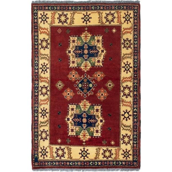ECARPETGALLERY Hand-knotted Finest Kargahi Dark Red Wool Rug - 3'4 x 4'11
