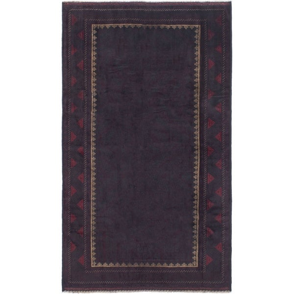 ECARPETGALLERY Hand-knotted Teimani Dark Burgundy Wool Rug - 4'11 x 8'8