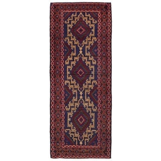ECARPETGALLERY  Hand-knotted Royal Baluch Red Wool Rug - 3'3 x 8'8