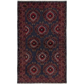 ECARPETGALLERY  Hand-knotted Finest Rizbaft Dark Navy, Red Wool Rug - 3'5 x 6'1
