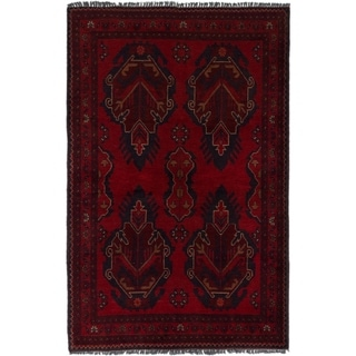 ECARPETGALLERY  Hand-knotted Finest Khal Mohammadi Red Wool Rug - 3'2 x 4'10