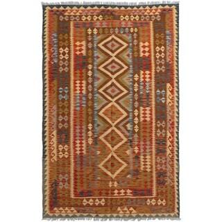 ECARPETGALLERY  Flat-weave Hereke FW Red Wool Kilim - 5'1 x 8'2
