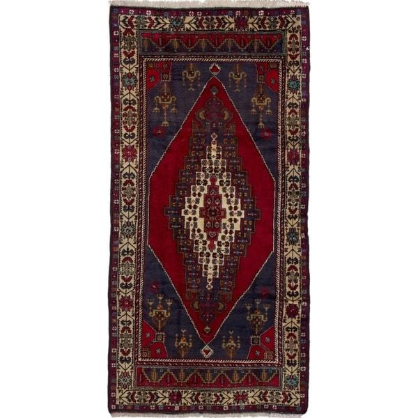 ECARPETGALLERY Hand-knotted Anadol Vintage Dark Navy, Red Wool Rug - 4'9 x 9'7