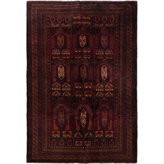 ECARPETGALLERY  Hand-knotted Royal Baluch Dark Red Wool Rug - 3'11 x 5'11