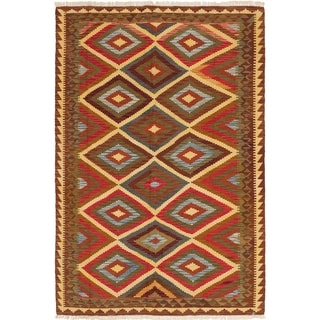 ECARPETGALLERY  Flat-weave Hereke FW Brown, Red Wool Kilim - 5'3 x 7'10