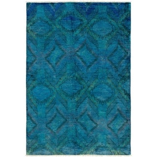 ECARPETGALLERY  Hand-knotted Vibrance Blue Wool Rug - 6'0 x 8'9