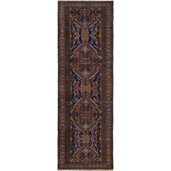 ECARPETGALLERY Hand-knotted Finest Rizbaft Brown, Dark Navy Wool Rug - 2'11 x 9'2