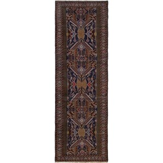 ECARPETGALLERY  Hand-knotted Finest Rizbaft Brown, Dark Navy Wool Rug - 2'11 x 9'2